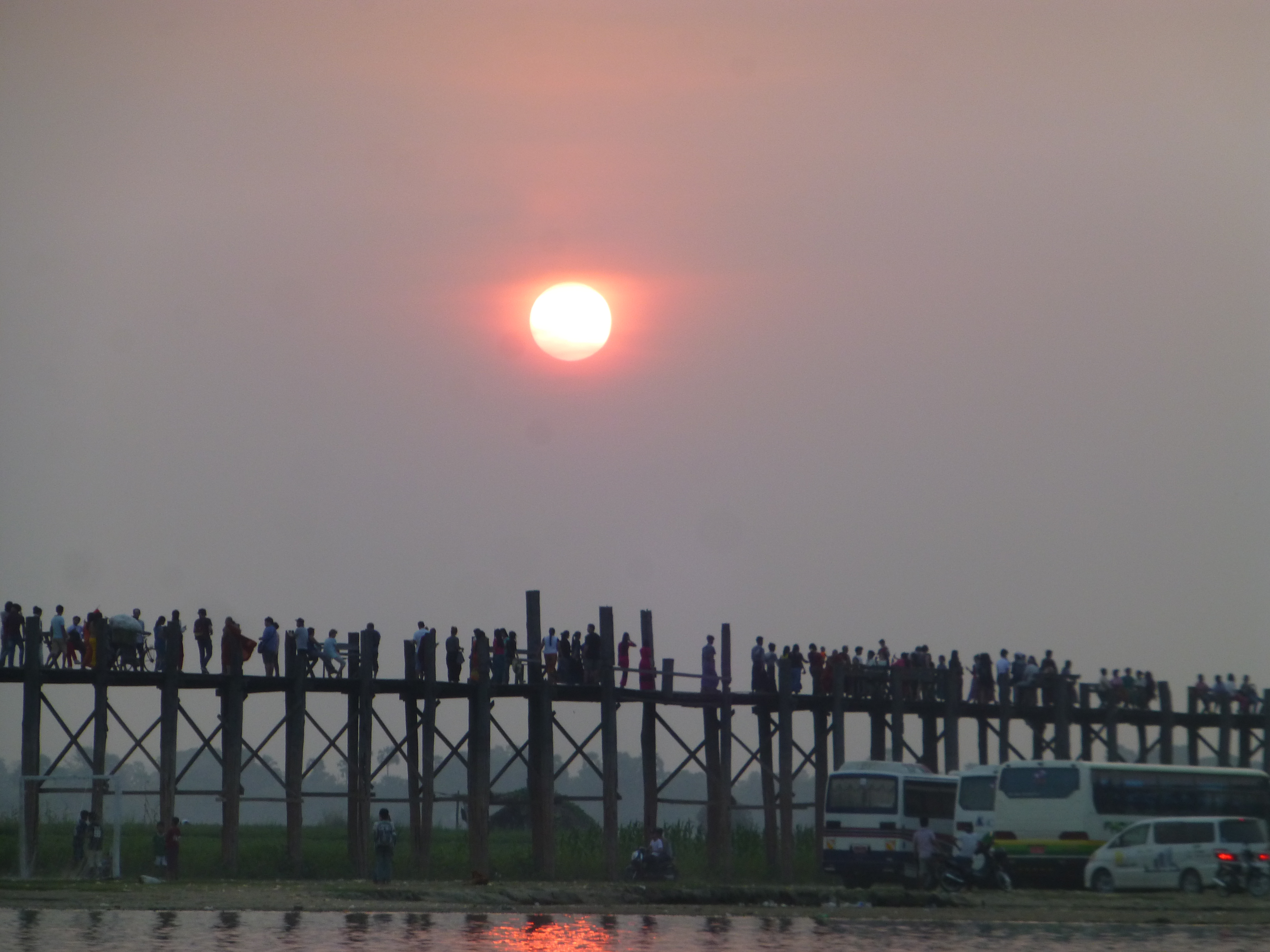 U Bein Bridge Myanmar 1.2-km bridge was built around 1850 & is believed to be the oldest & (once) longest teakwood bridge in the world.